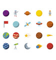bundle planets and space icons vector image