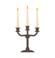burning old candle vintage candlestick vector image vector image