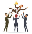 business victory happy team congrats his mentor vector image vector image