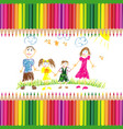 childrens drawing happy family vector image