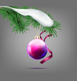 christmas ball with snow-covered fir branch vector image