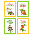 christmas holidays greeting cards with funny elves vector image vector image
