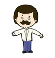 comic cartoon mustache man with open arms vector image