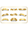 Gold ribbons set on white 1 vector image