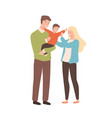 happy cartoon family mother father and kid vector image vector image