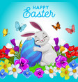 happy easter poster with bunny hugging egg vector image