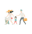 happy family travelling together with suitcases vector image vector image