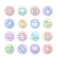 icons line round technology thin vector image vector image