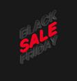 isometric black friday sale text vector image