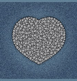 jeans heart with spangles vector image vector image