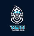 modern yeti head mascot logo vector image vector image