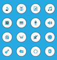 music colorful icons set collection of tambourine vector image vector image