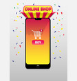 online shopping concept with smartphone image vector image vector image