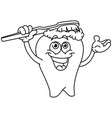 outlined brushing tooth vector image vector image