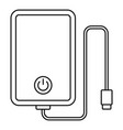power bank cable icon outline style vector image