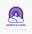 rainbow with clouds thin line icon lgbt symbol vector image
