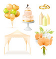realistic wedding elements set vector image vector image