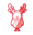 red silhouette of chicken with horns of reindeer vector image