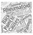 Rheumatoid arthritis and Back Pain Word Cloud vector image vector image