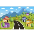 Rural landscape with small town vector image
