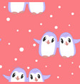 seamless pattern with cute happy penguins in hug vector image vector image