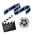 set of cinema consisting of coil with film film vector image