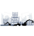 silhouette a construction site vector image