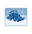 Snow plow tractor plowing winter scene vector image vector image