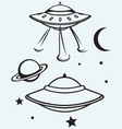 Space flying saucer vector image vector image