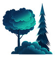 tall deciduous and coniferous trees isolated vector image
