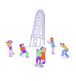 travelers in pisa vector image