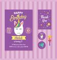 unicorn birthday invitation template with cute vector image vector image