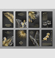 vertical invitation 8 cards set with black vector image