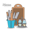 white background with colorful set kitchen vector image