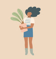 young african american lady florist standing vector image