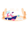 young man sitting on floor at home with popcorn vector image vector image