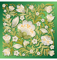 abstract white floral ornament on a green vector image vector image