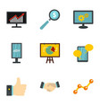 advertising elements icons set flat style vector image vector image