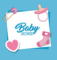 baby shower card with set icons vector image vector image