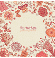 background with hand-drawn flowers and butterflies vector image vector image
