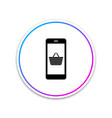 black mobile phone and shopping basket icon vector image vector image