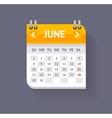 Calendar June Flat Design vector image vector image
