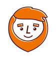 cartoon smile face man beard character vector image vector image