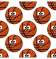 Cartoon smiling basketball seamless pattern vector image