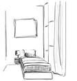 children roomgraphic black white interior sketch vector image