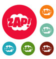 comic boom zap icons circle set vector image vector image