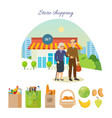 Couple after shopping at the mall on city street vector image