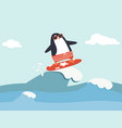 cute penguin surfing waves vector image vector image