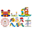 different types of play stations at playground vector image vector image