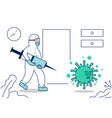 doctor with hazmat protective suit chasing over vector image vector image